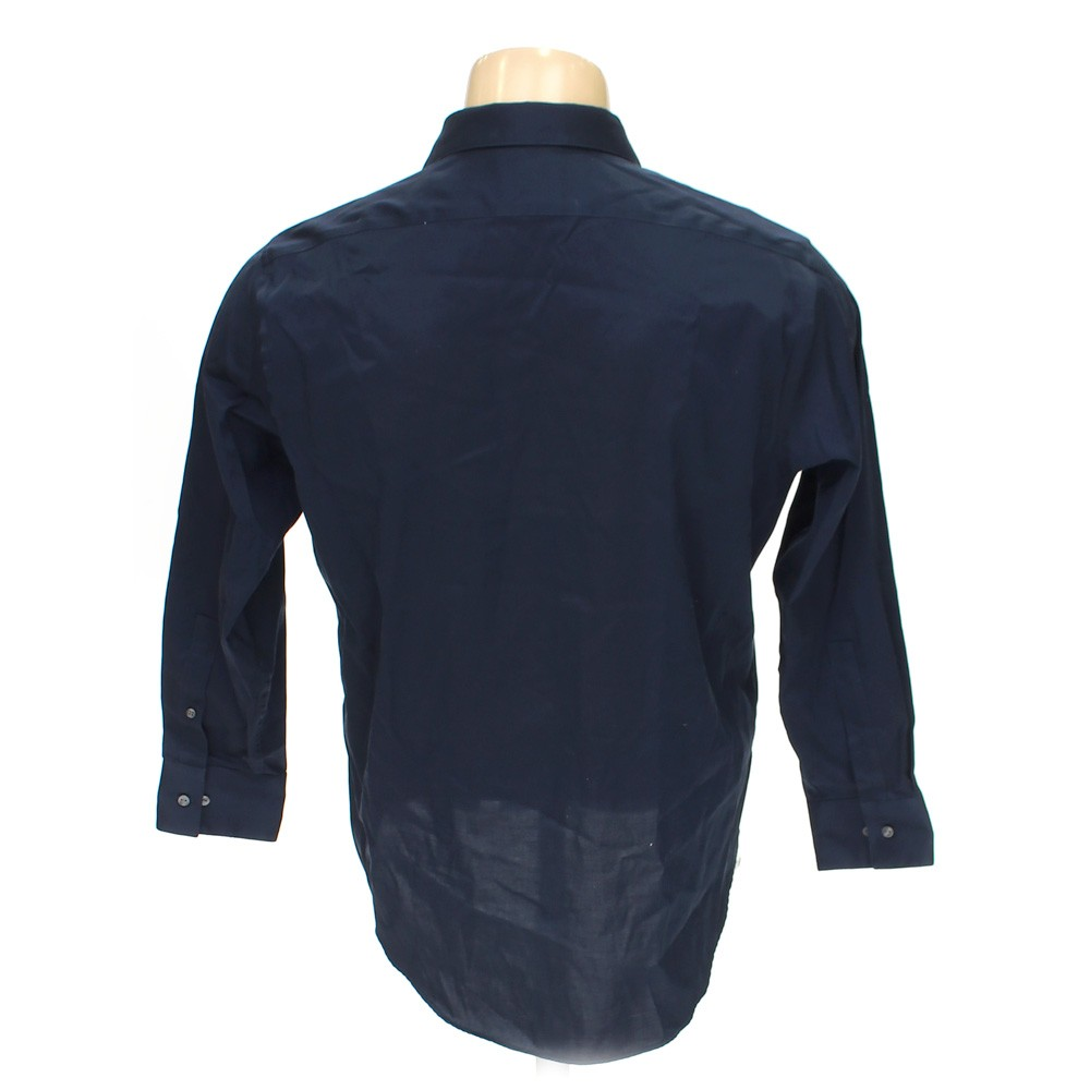 Blue navy calvin klein button up long sleeve shirt in size for 17 33 shirt size
