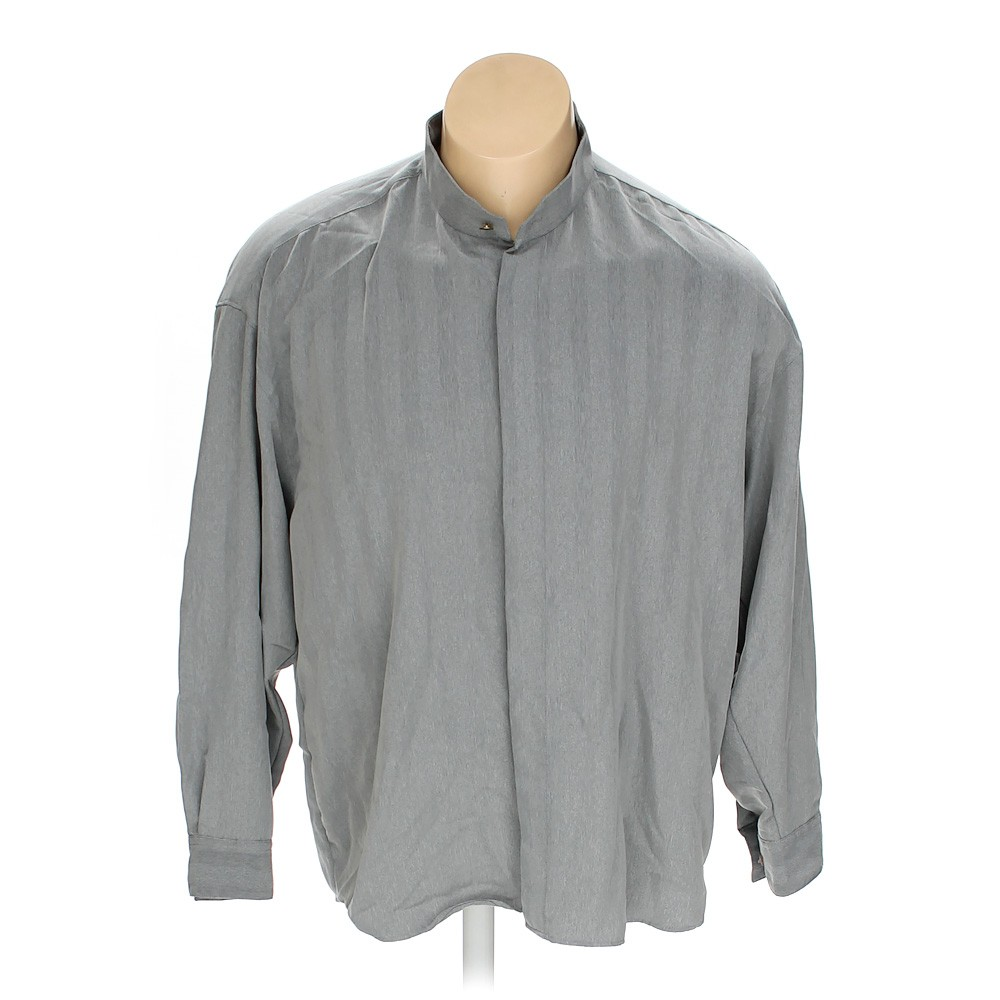 Grey elliott button up long sleeve shirt in size xxl at up for 18 36 37 shirt size