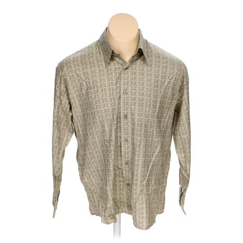 Beige enro button up long sleeve shirt in size xl at up to for 17 33 shirt size