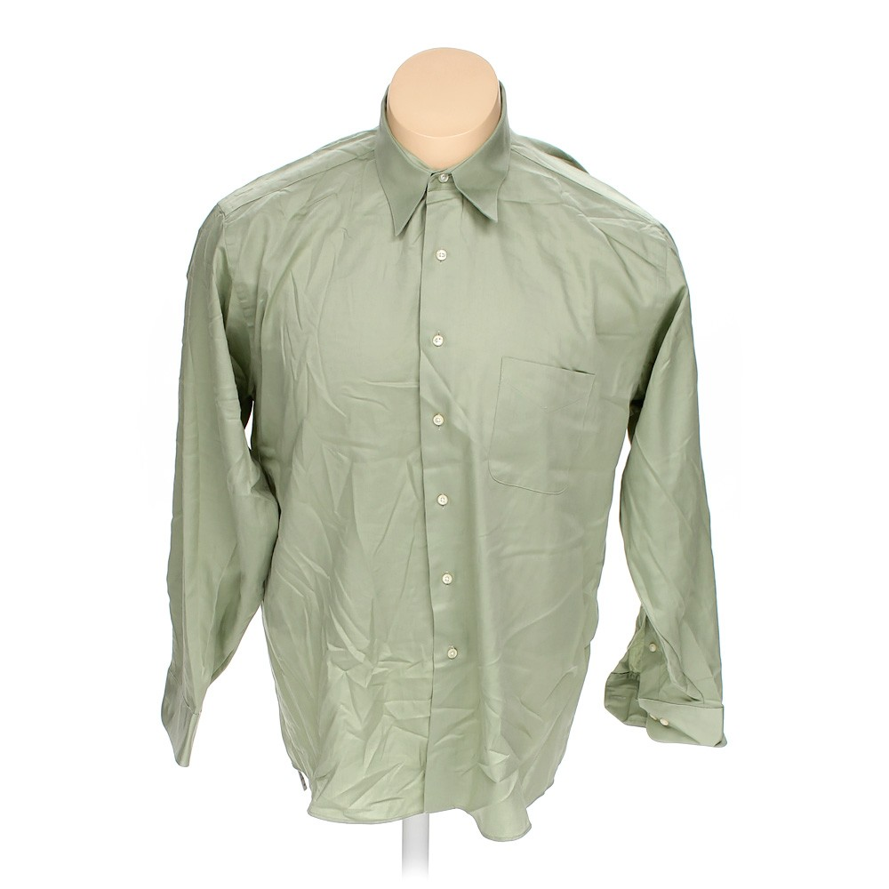 Green geoffrey beene button up long sleeve shirt in size for 18 36 37 shirt size