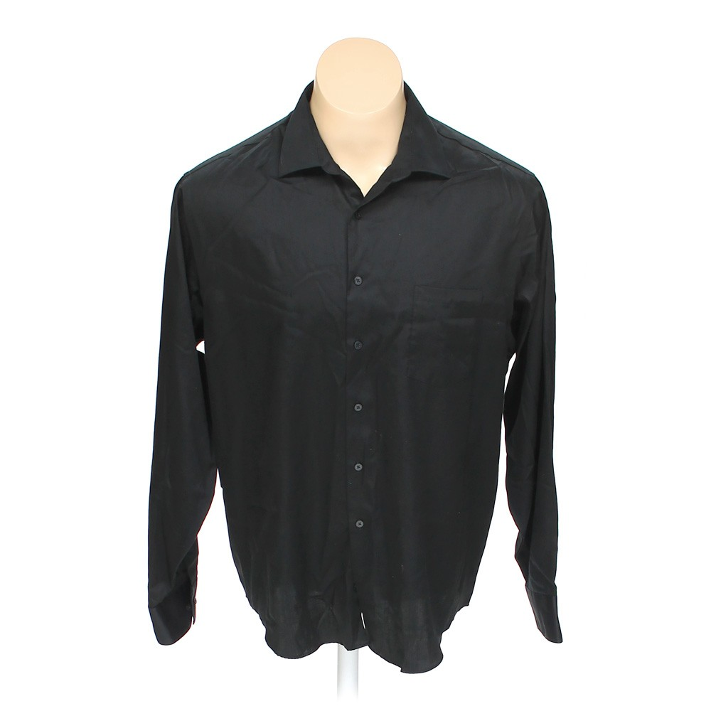 Black geoffrey beene button up long sleeve shirt in size for 18 36 37 shirt size