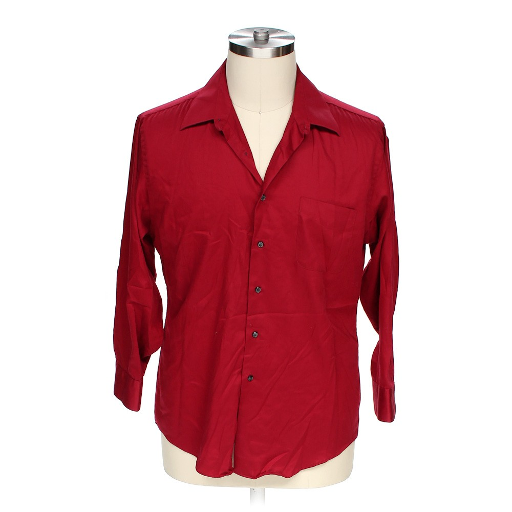 Red geoffrey beene button up long sleeve shirt in size xl for 17 33 shirt size