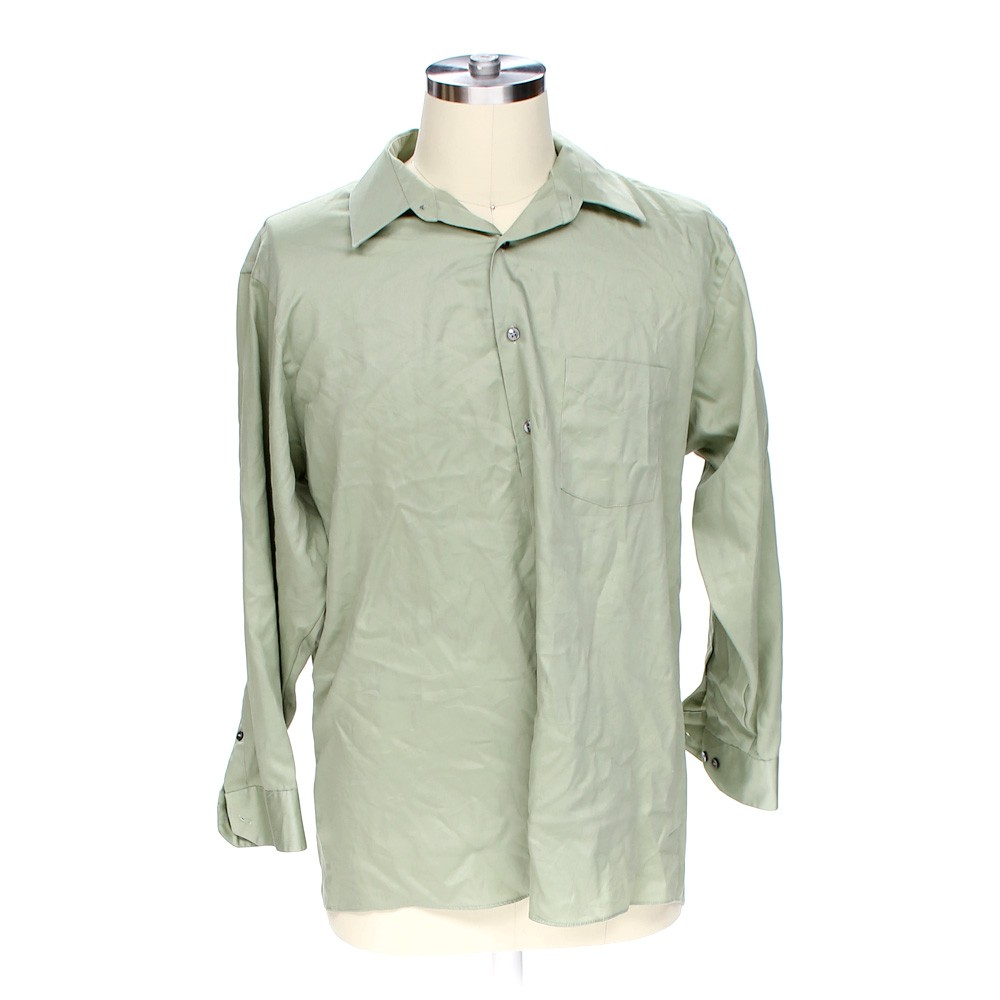 Green geoffrey beene button up long sleeve shirt in size for 17 33 shirt size