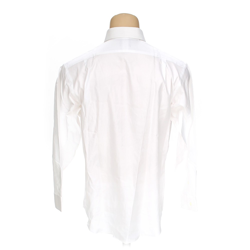 White jos a bank button up long sleeve shirt in size 32 for 17 33 shirt size