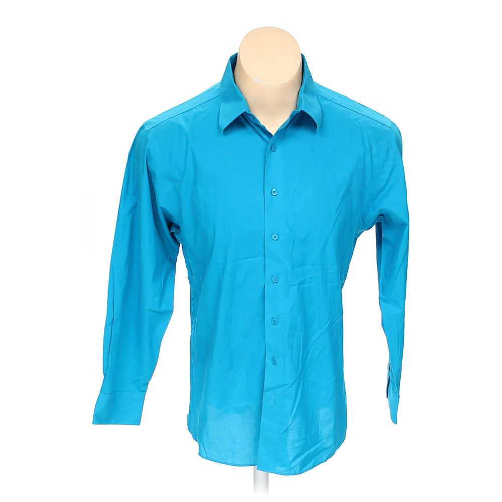 Turquoise murano button up long sleeve shirt in size 44 for 17 33 shirt size