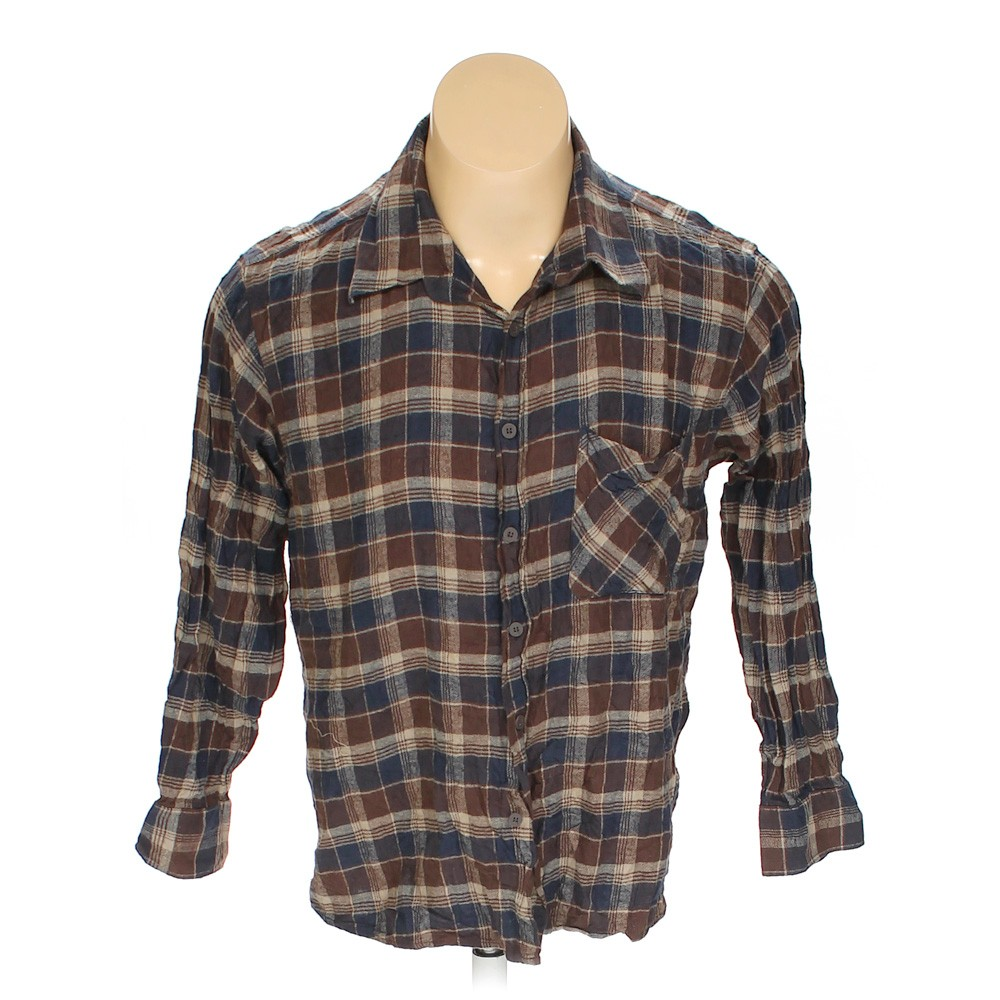 Brown nucci exchange button up long sleeve shirt in size for 17 33 shirt size