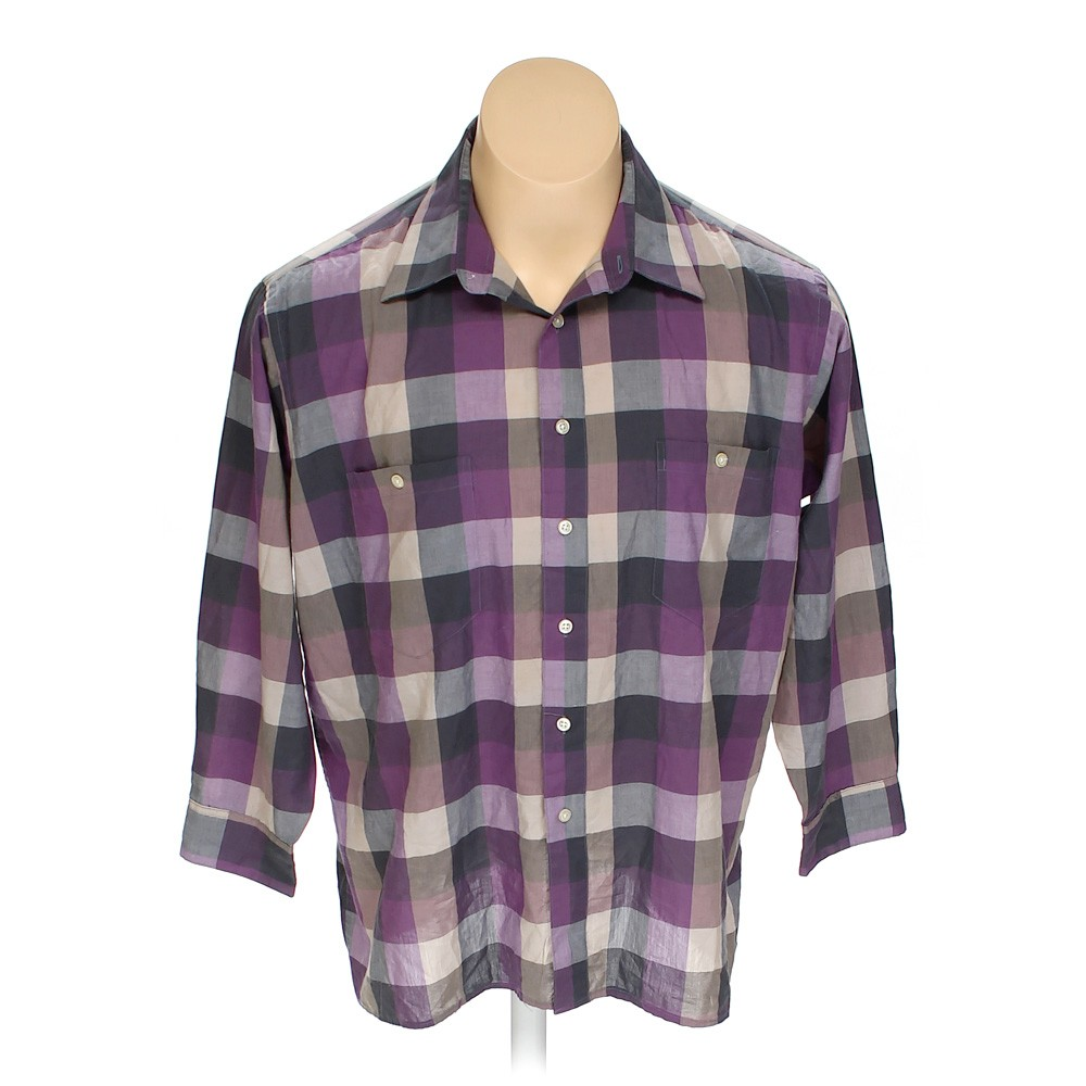 Purple pierre cardin button up long sleeve shirt in size for 17 33 shirt size