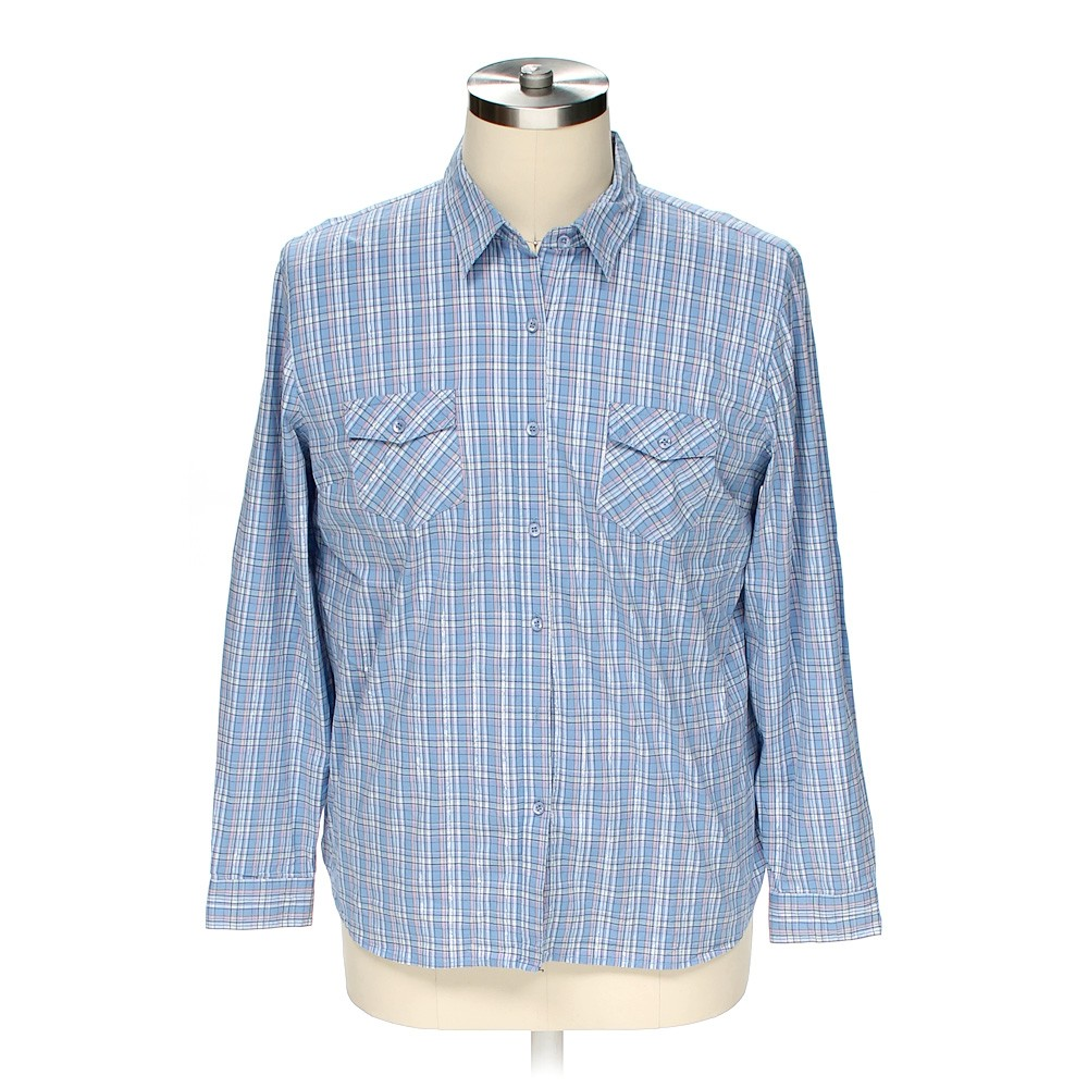 light blue sag harbor button up long sleeve shirt in size