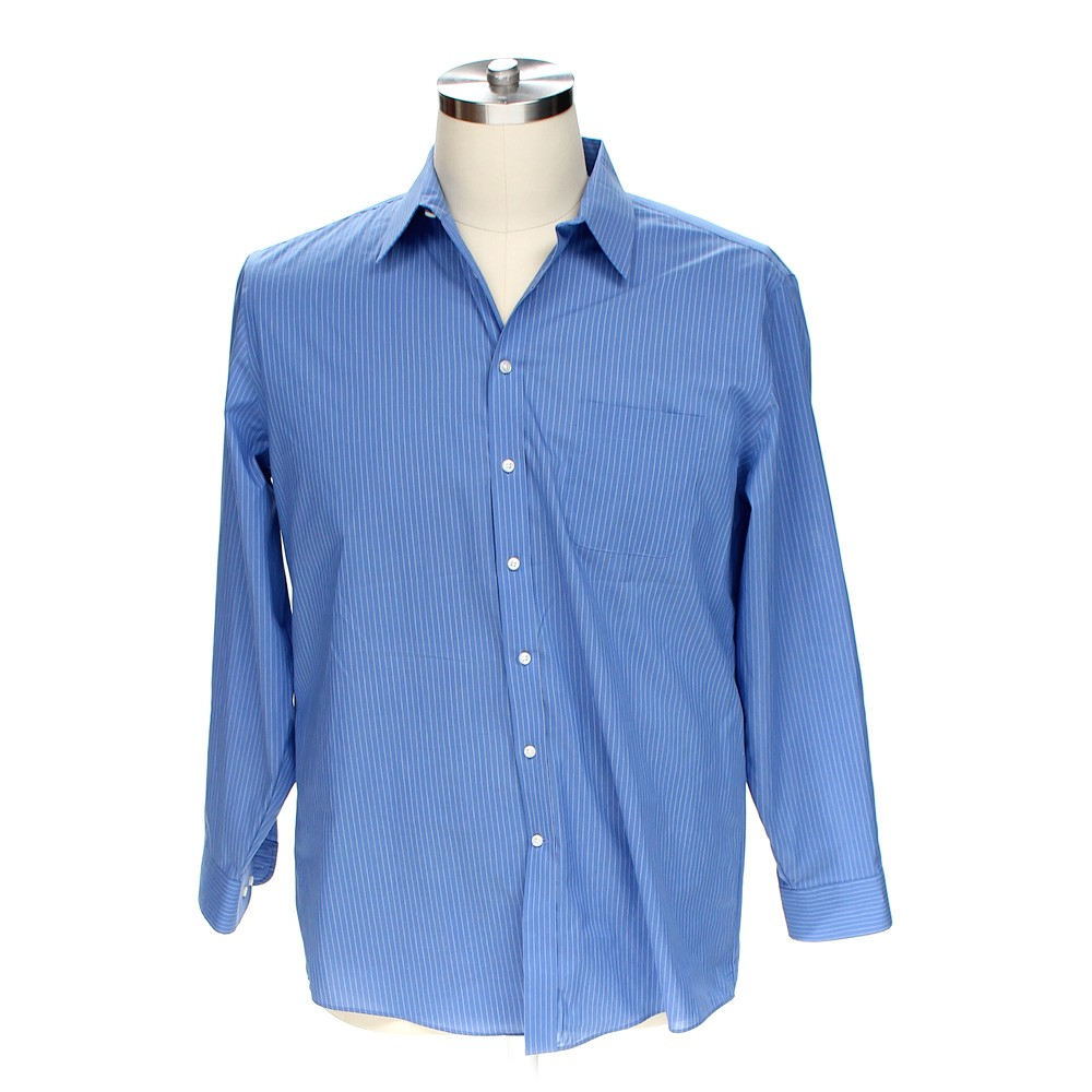 Blue navy stafford button up long sleeve shirt in size at for 18 36 37 shirt size