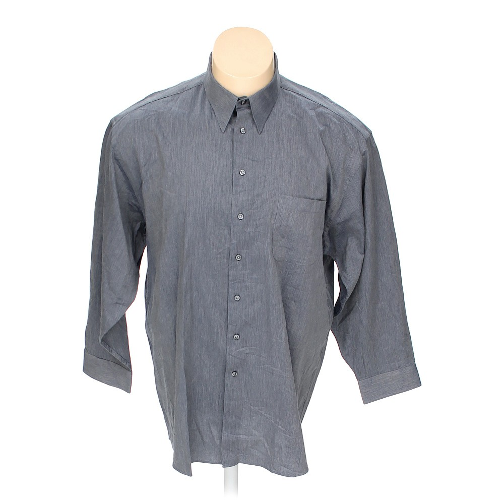 Grey stafford button up long sleeve shirt in size 2xl at for Stafford t shirts big and tall