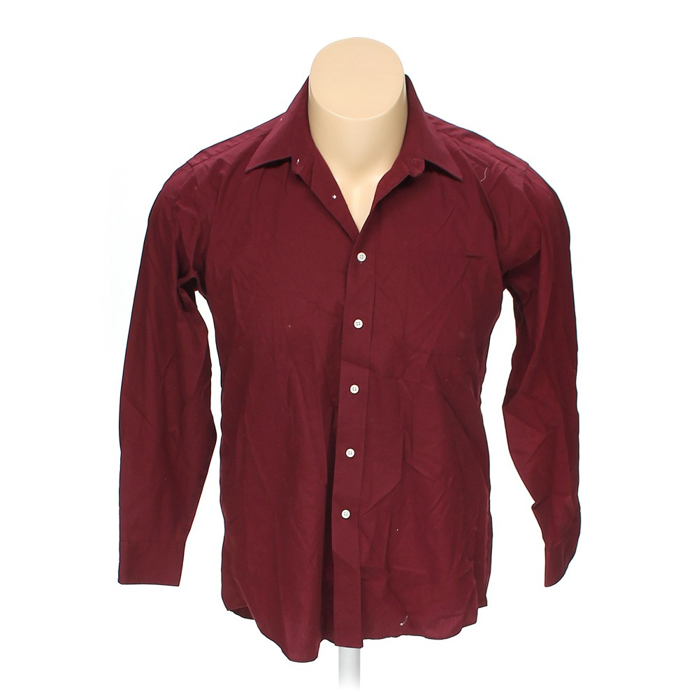 Maroon stafford button up long sleeve shirt in size 52 for Stafford big and tall shirts