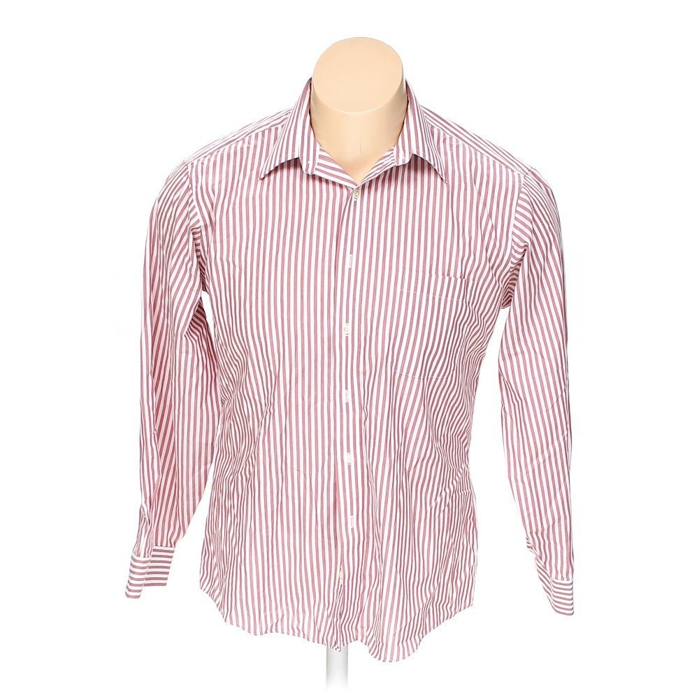 Pink stafford button up long sleeve shirt in size xl at up for Stafford big and tall shirts