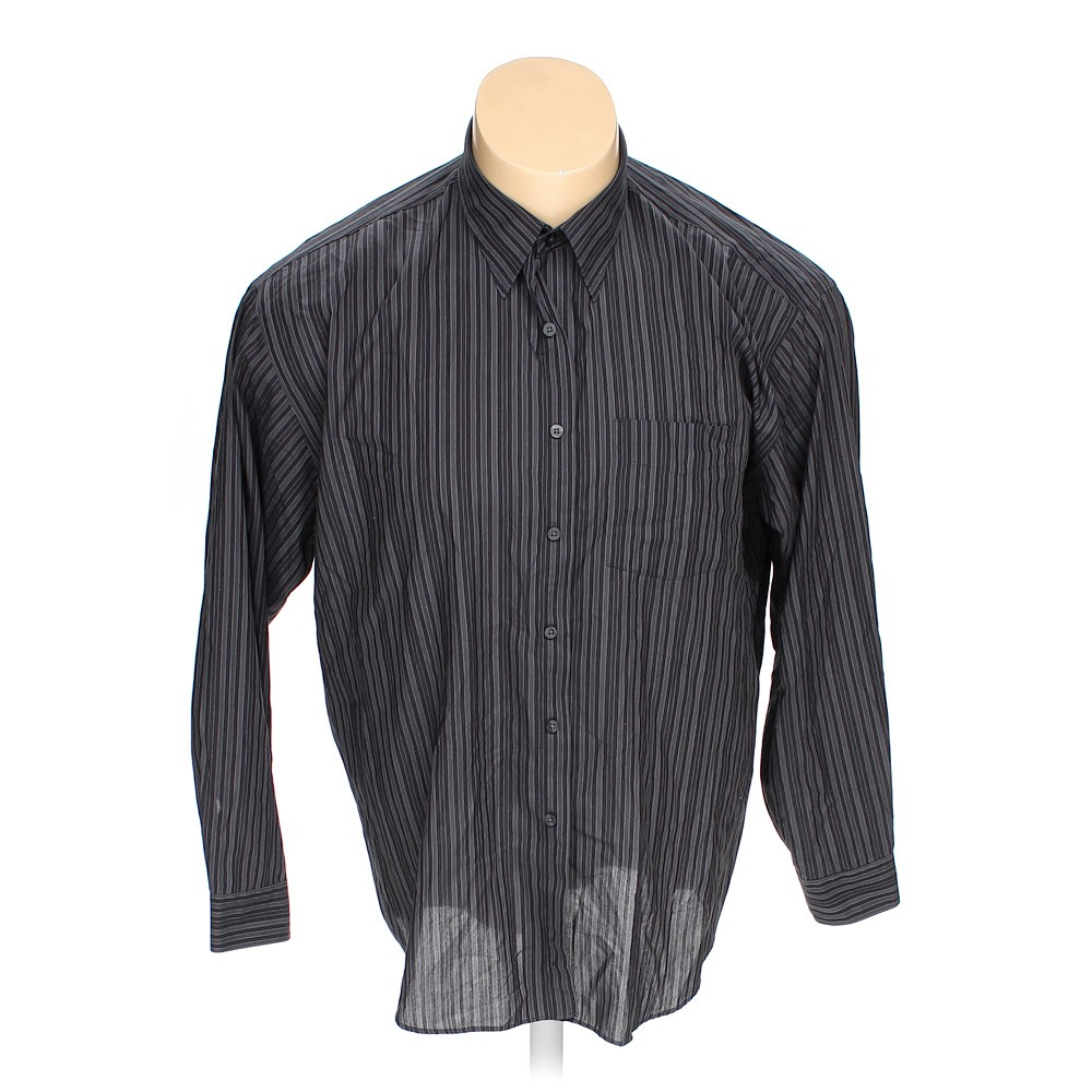 Grey van heusen button up long sleeve shirt in size xxl at for 18 36 37 shirt size