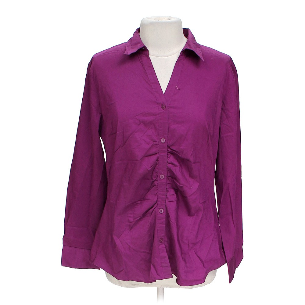 Purple attention button up shirt in size xl at up to 95 for Polyester button up shirt