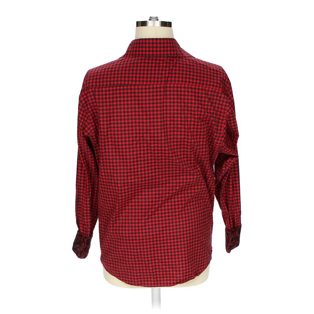 Red vittorino button up shirt in size xl at up to 95 off for Polyester button up shirt