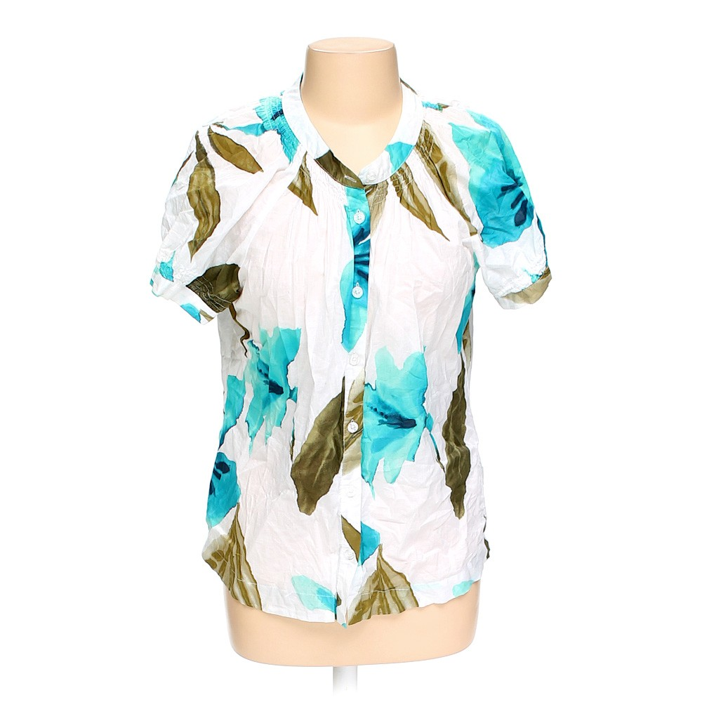 White caribbean joe button up shirt in size l at up to 95 for Cotton button up shirt