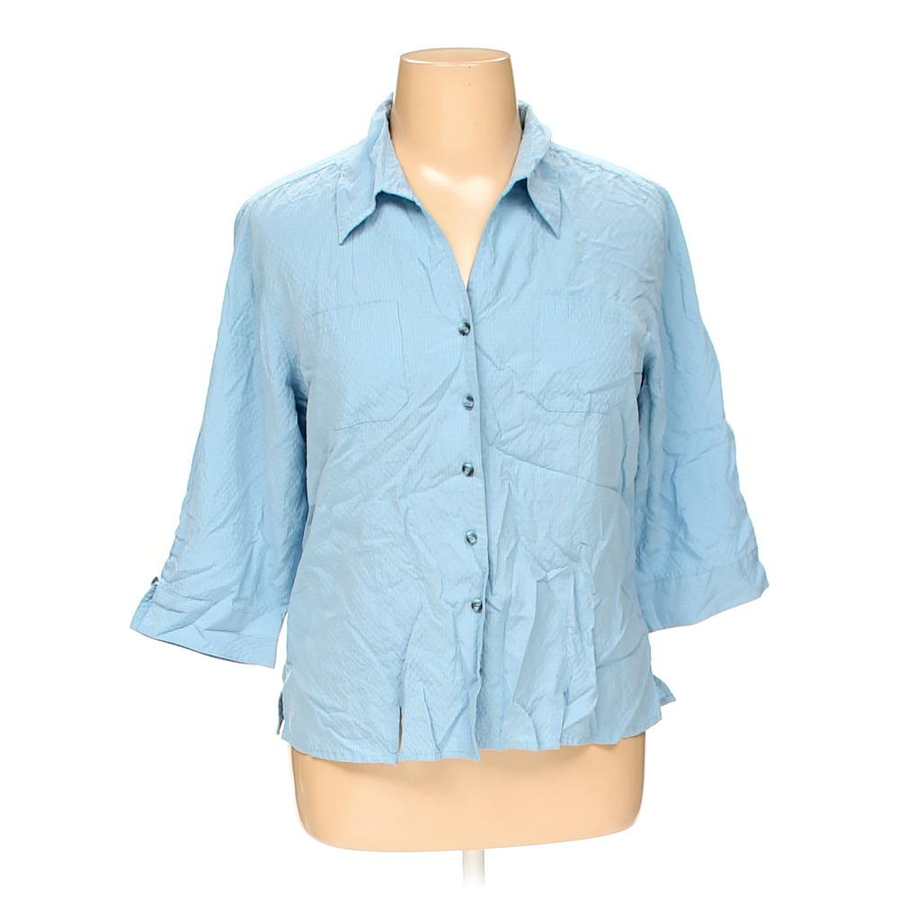Light blue dressbarn button up shirt in size 1x at up to for Plus size light blue shirt