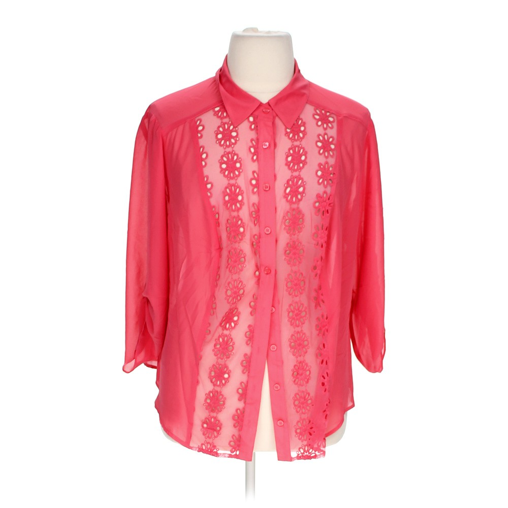 Pink in design button up shirt in size 3x at up to 95 off for 3x shirts on sale