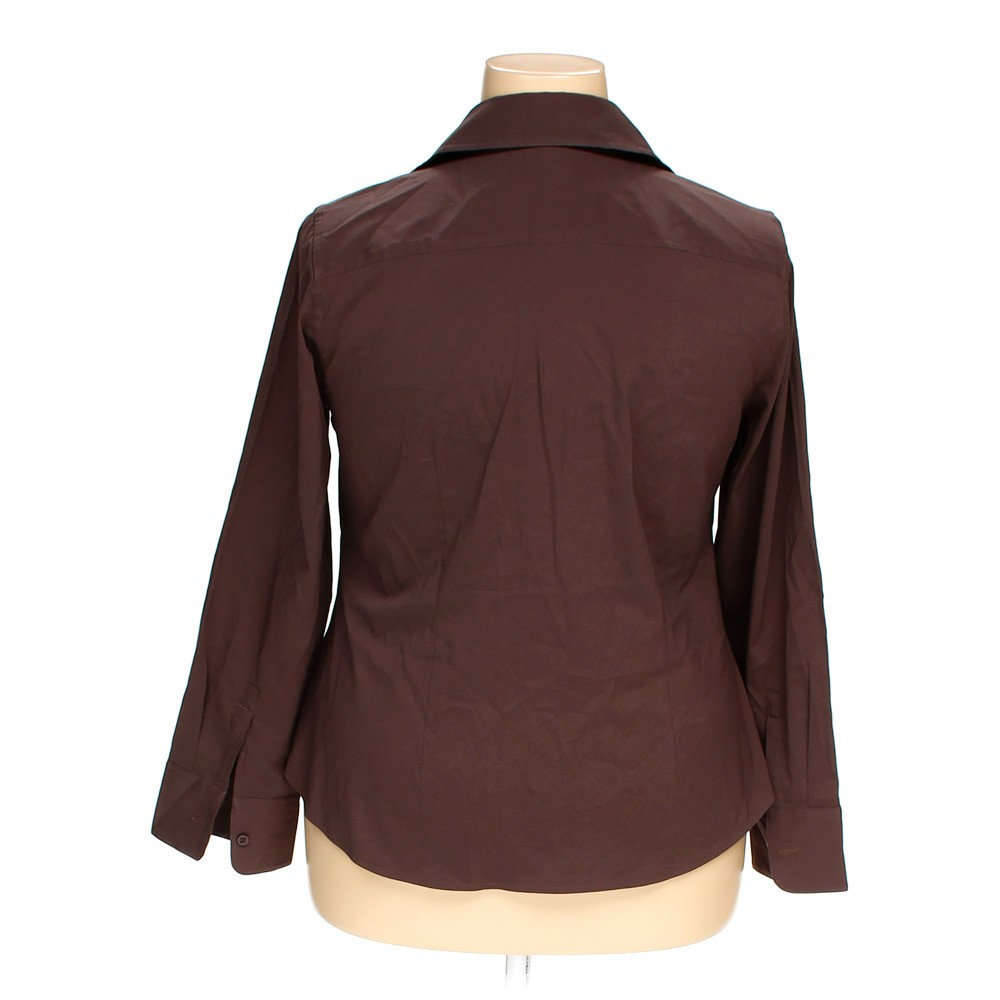 Lane bryant solid polyester button up shirt size 14 brown for Polyester button up shirt