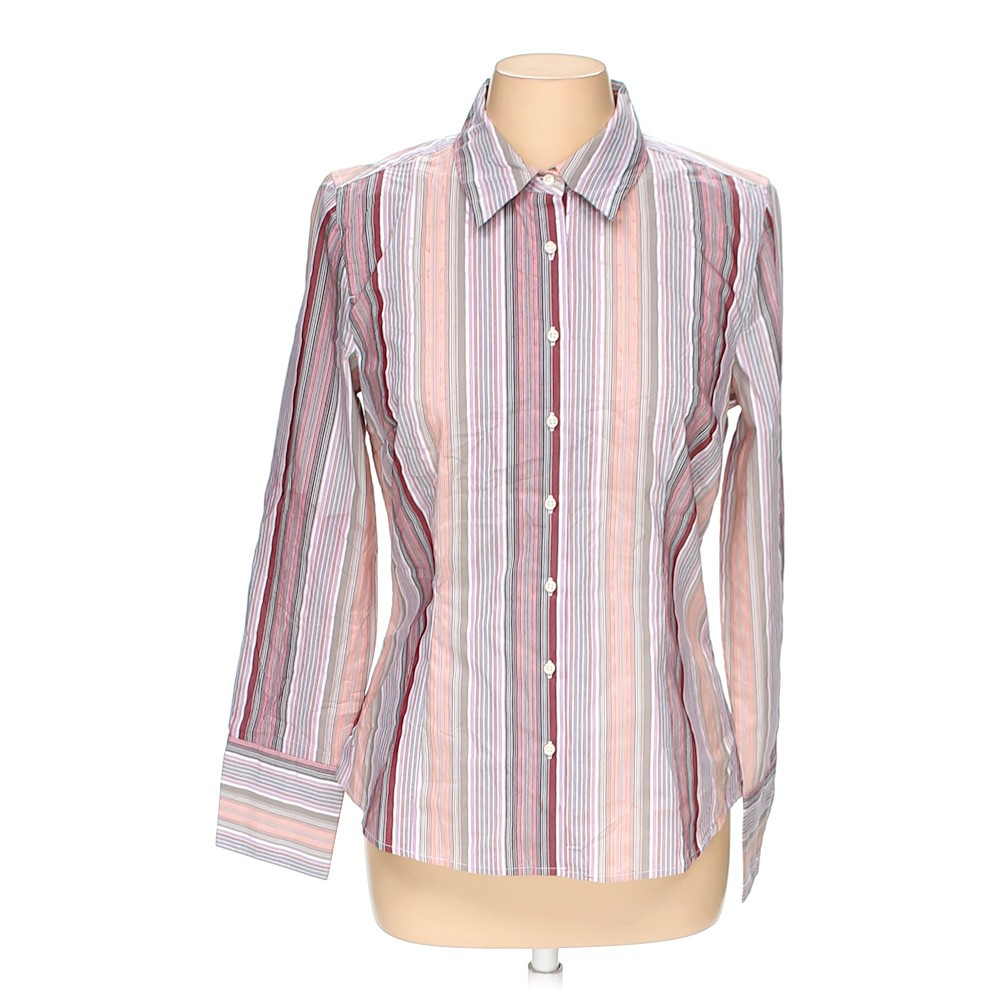 Merona button up shirt in size m at up to 95 off for Polyester button up shirt