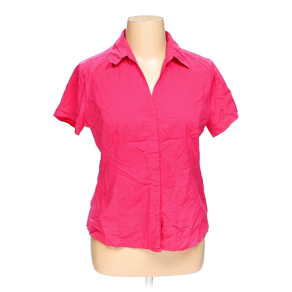 Pink riders by lee button up shirt in size xl at up to 95 for Polyester button up shirt