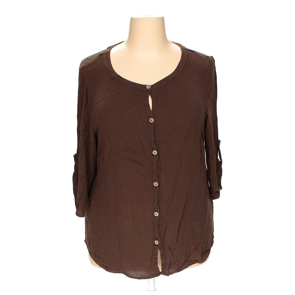 Brown white stag button up shirt in size 20 at up to 95 for White shirt brown buttons