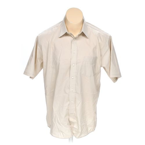 Beige stafford button up short sleeve shirt in size 44 for Stafford t shirts big and tall