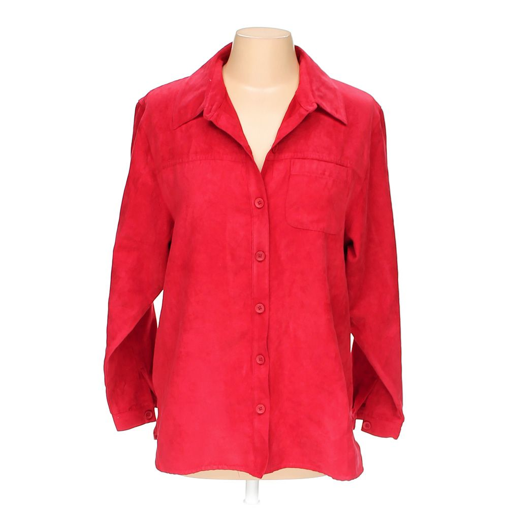 Studio works women 39 s button up shirt size m red for Polyester button up shirt