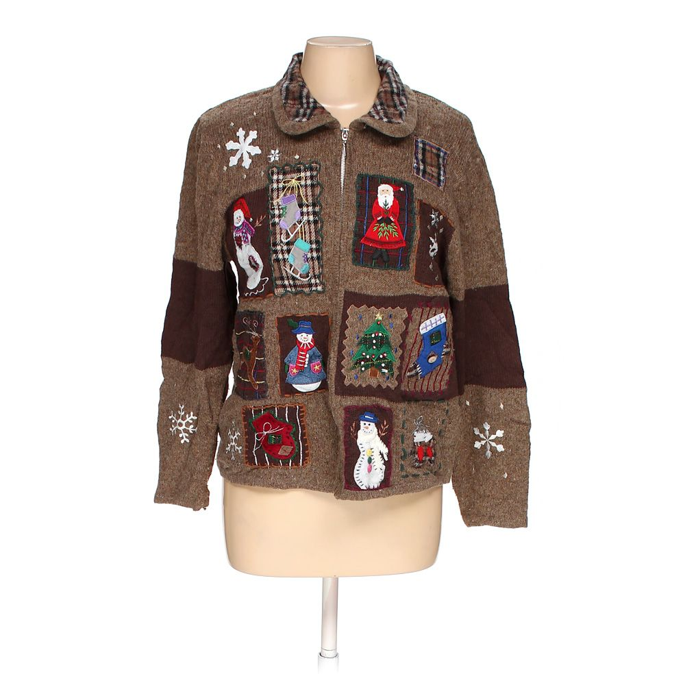 f70b7c51 Segue Women's Ugly Holiday Cardigan, size M, brown, acrylic, cotton ...