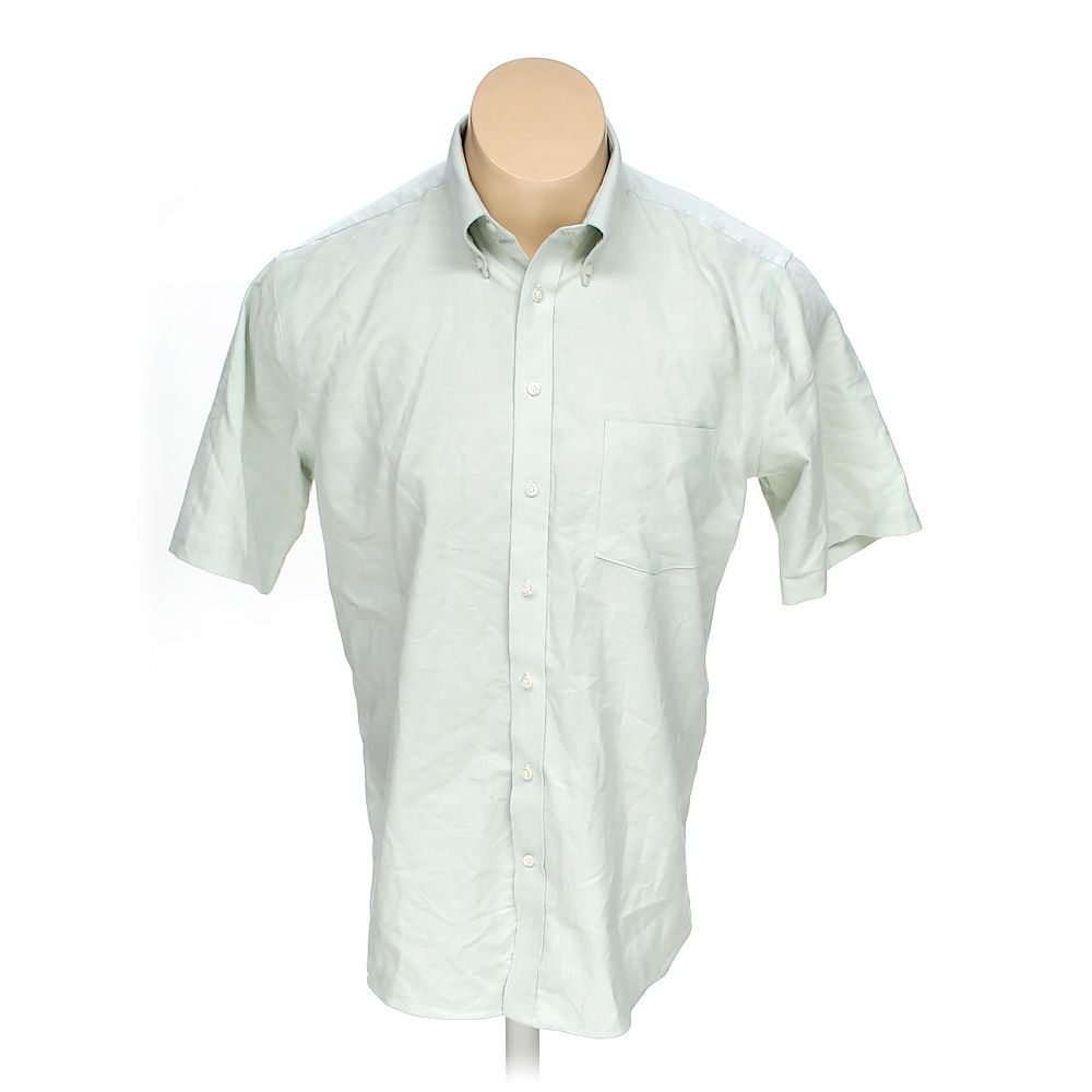 Stafford Mens Button Up Short Sleeve Shirt Size L Green Cotton