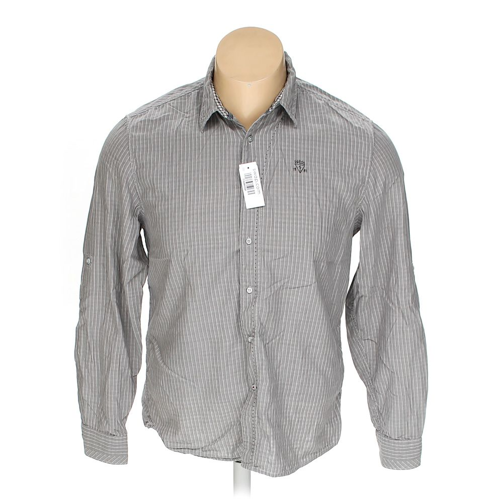 0af91f6bf837 GUESS Men's Button-up Long Sleeve Shirt, size XL, grey, cotton   eBay