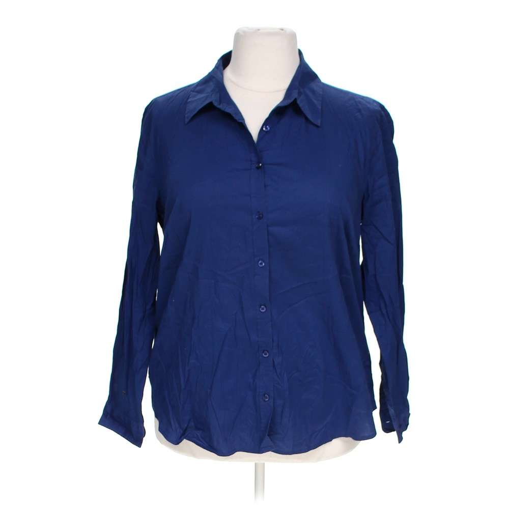Blue Navy Merona Casual Button Up Shirt In Size 12 At Up