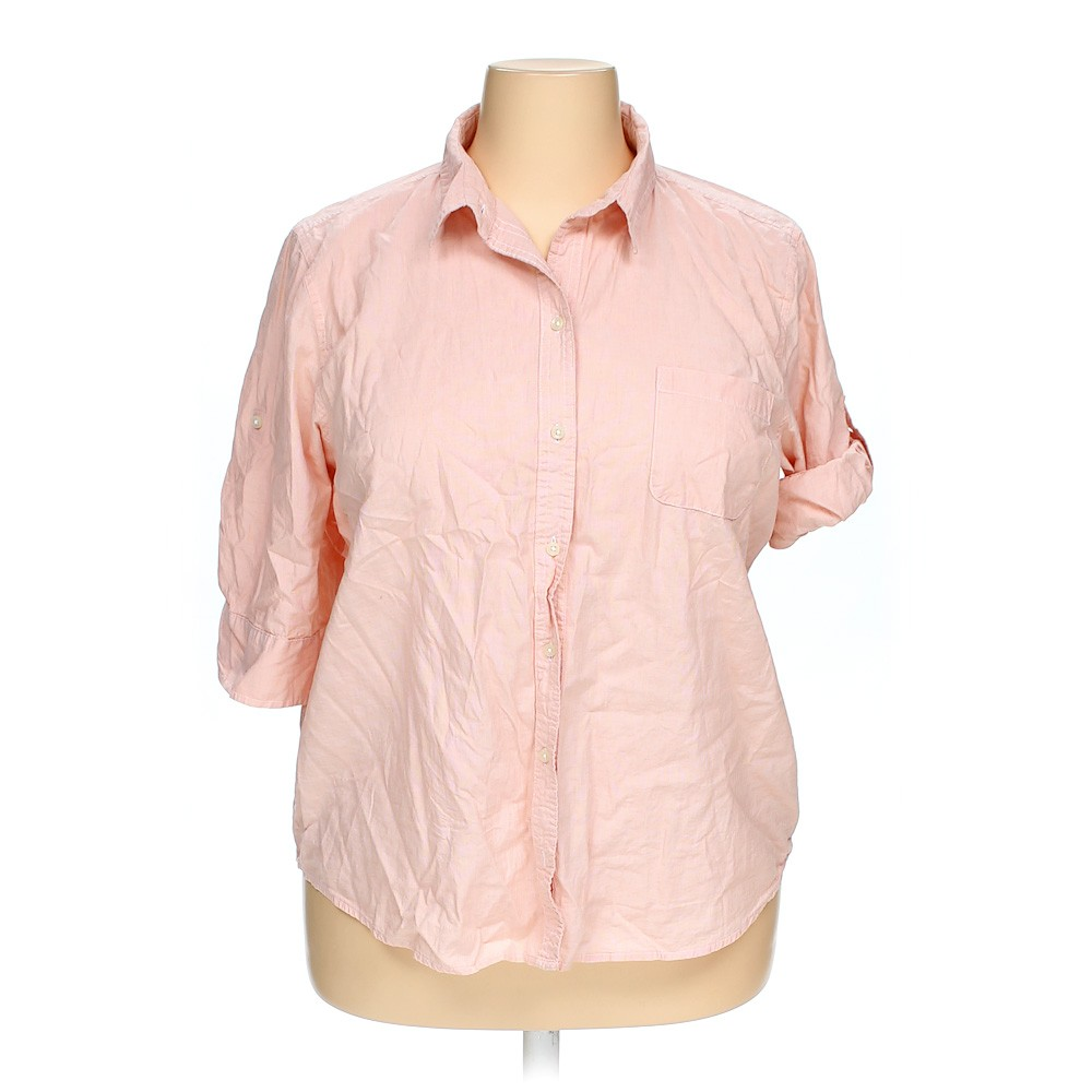 Pink Riders By Lee Casual Button Up Shirt In Size Xxl At