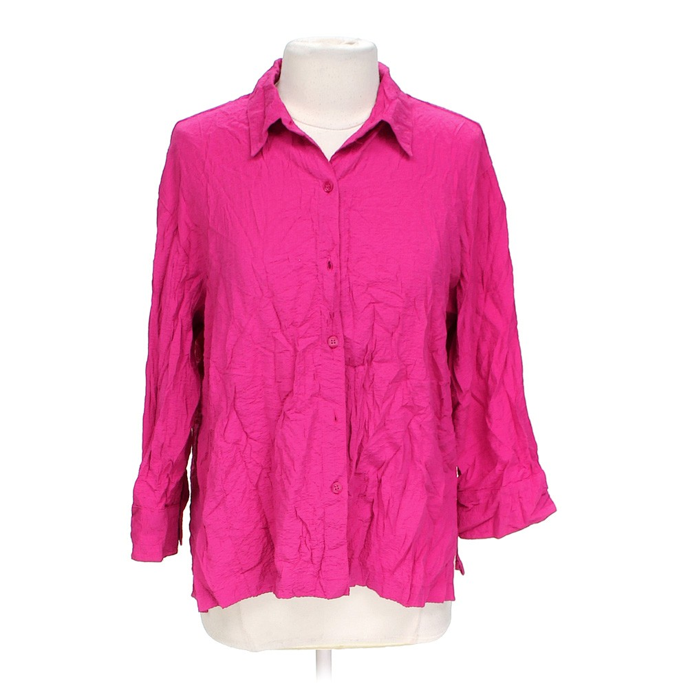 Pink white stag casual button up shirt in size l at up to for Polyester button up shirt