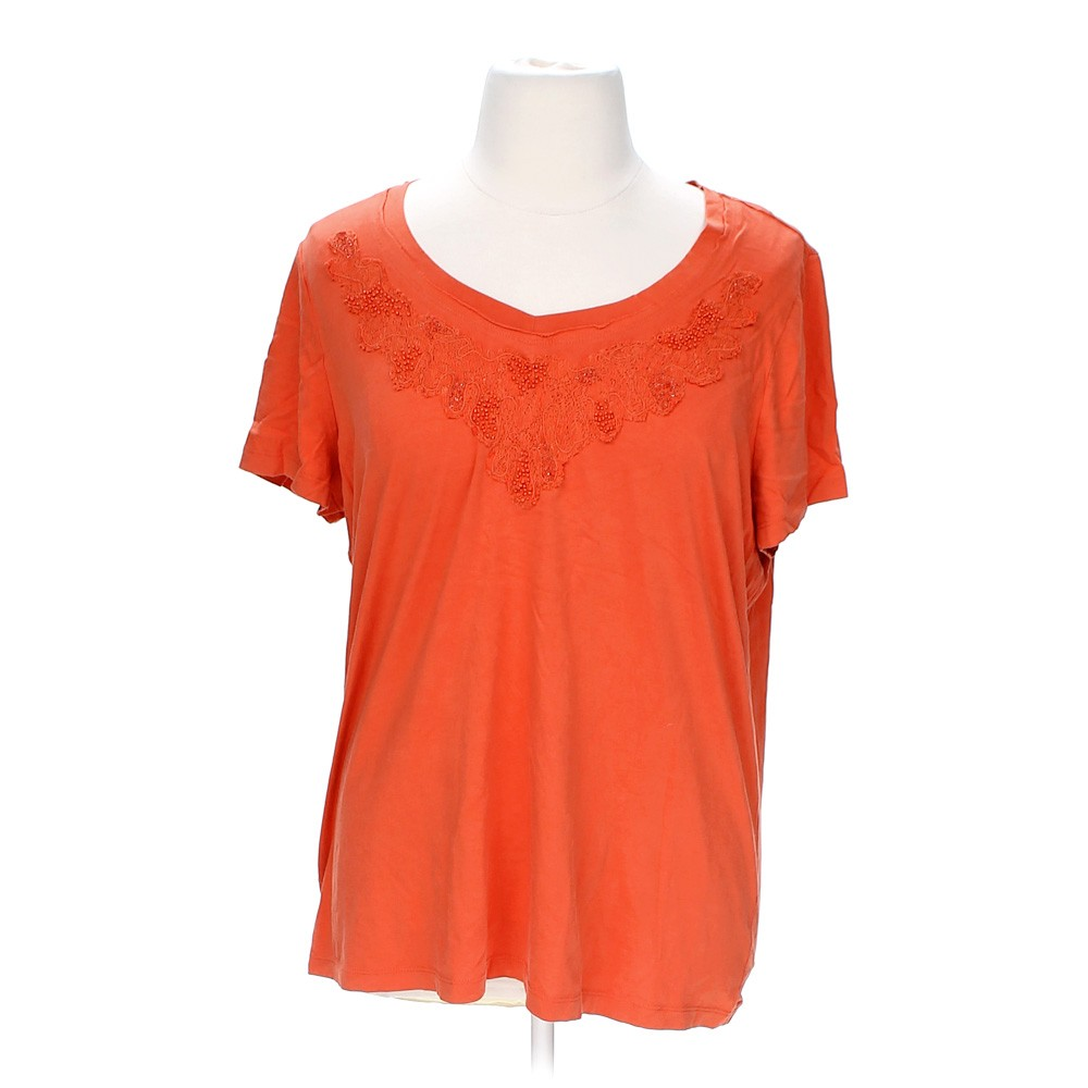 Orange St John 39 S Bay Embroidered Tee In Size 1x At Up To