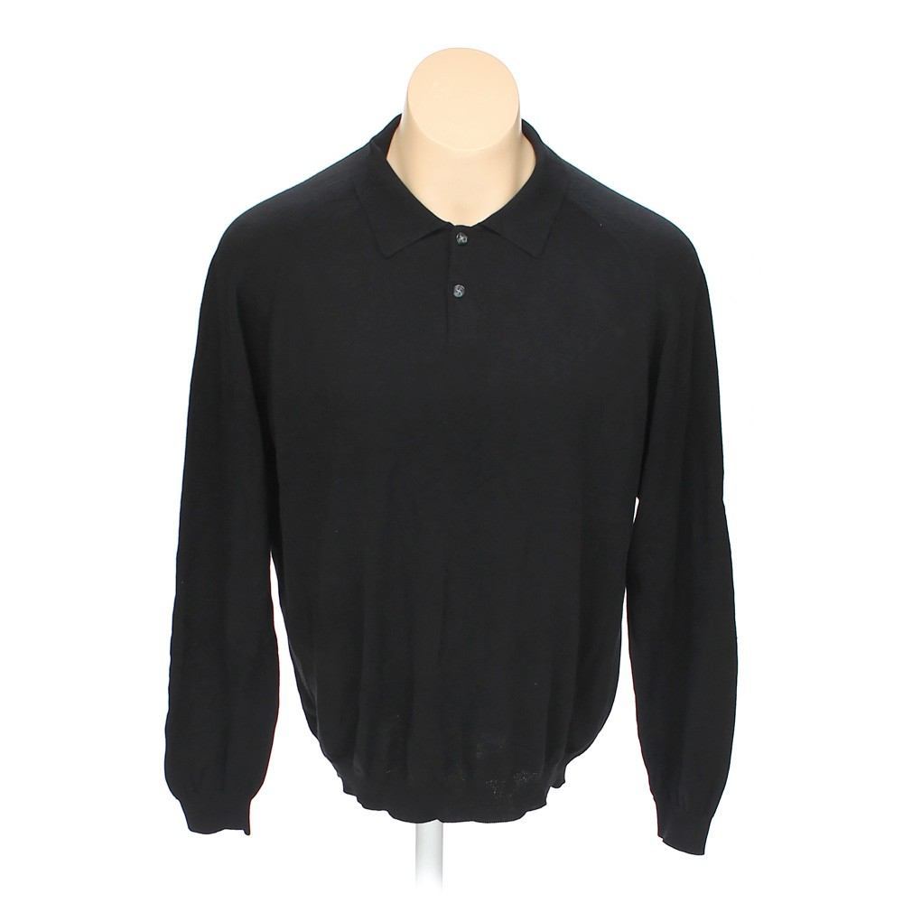 Black croft barrow long sleeve polo shirt in size xl at for Croft and barrow womens polo shirts