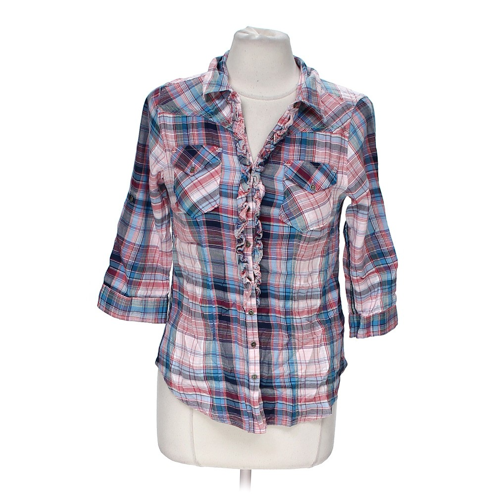 Purple ruff hewn plaid button up shirt in size s at up to for Purple plaid button up shirt