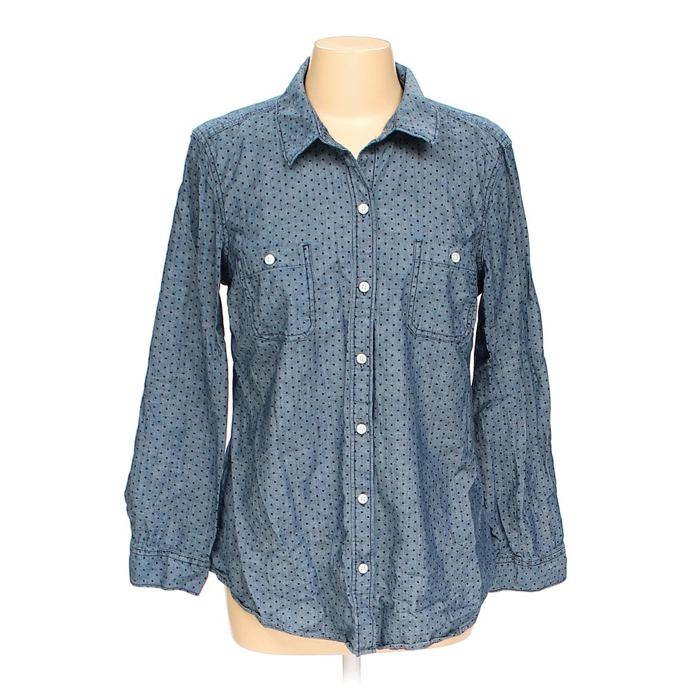Blue Navy Old Navy Polka Dot Button Up Shirt In Size L At