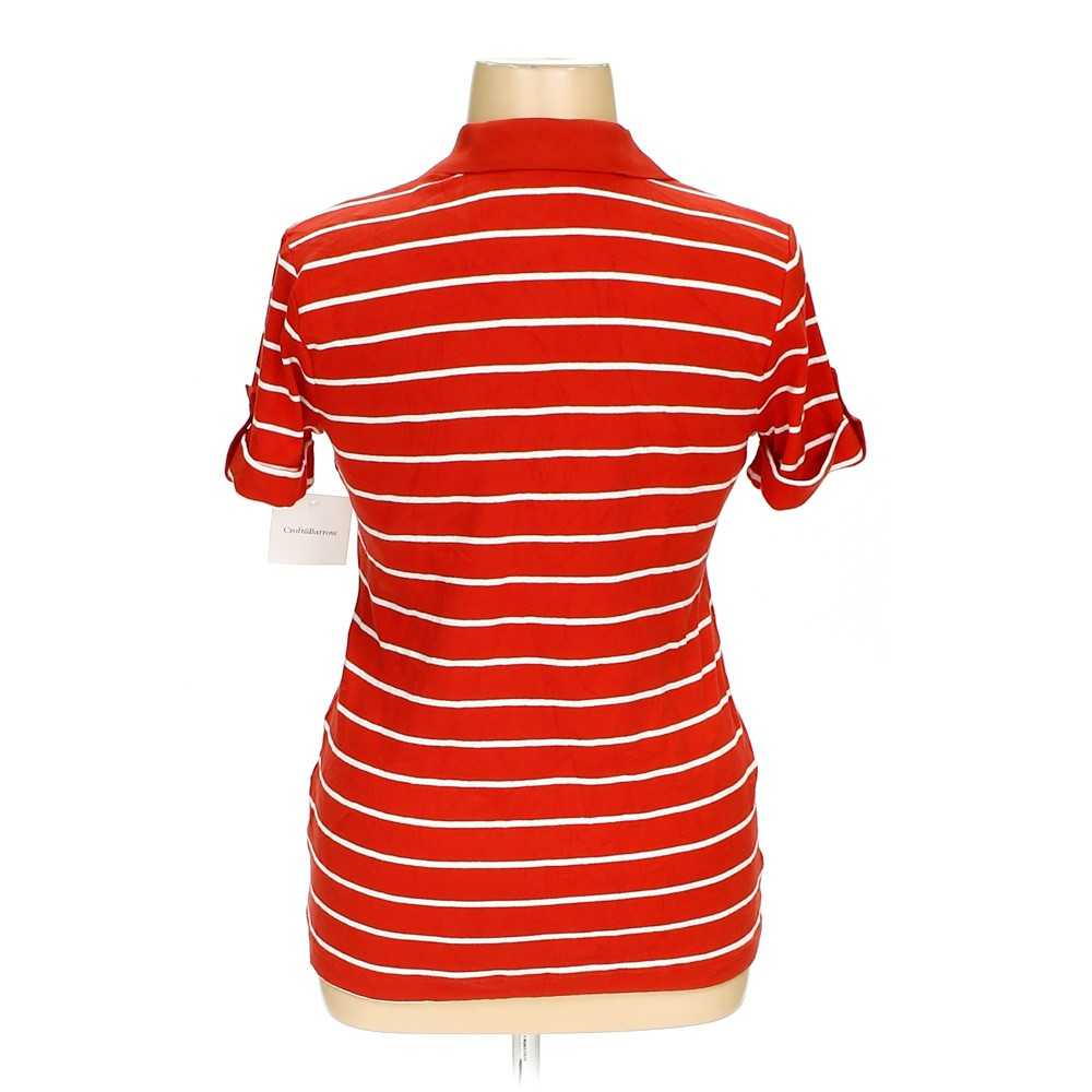 Red croft barrow polo shirt in size xl at up to 95 off for Croft and barrow womens polo shirts