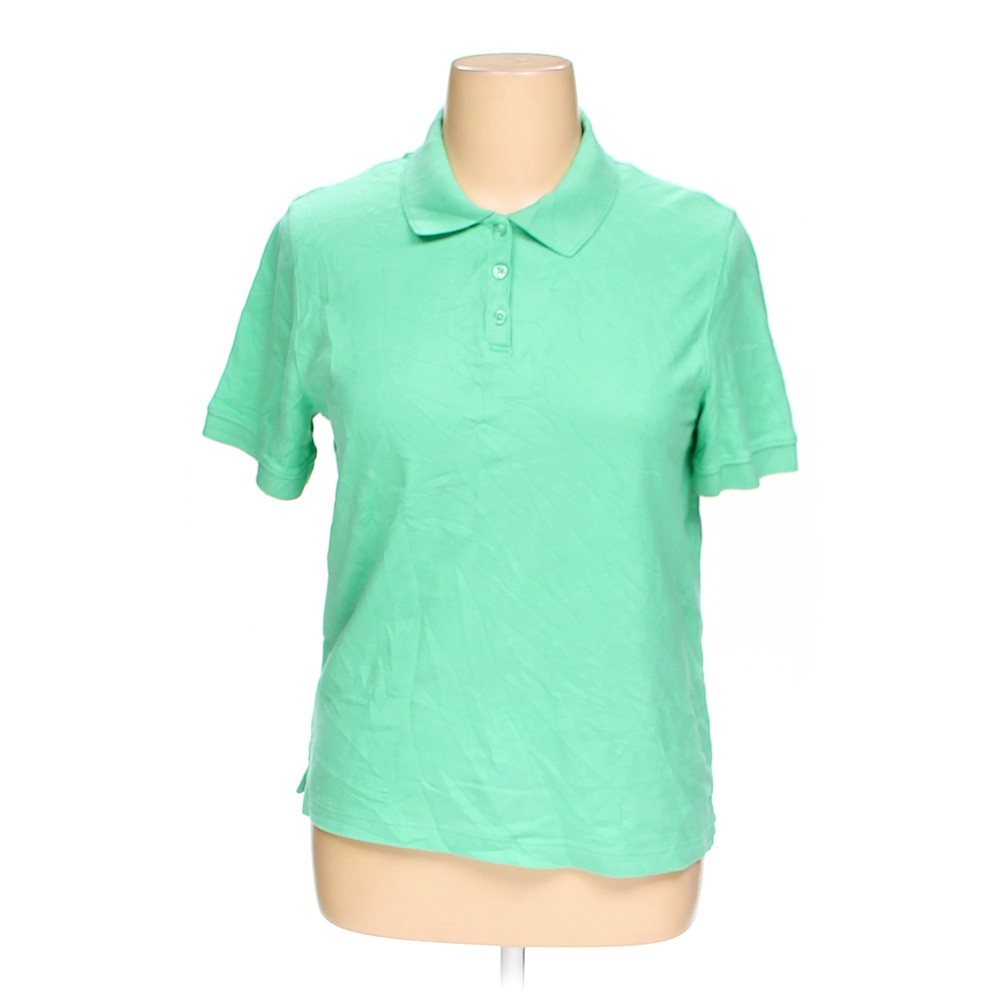 Green croft barrow polo shirt in size xl at up to 95 for Croft and barrow womens polo shirts