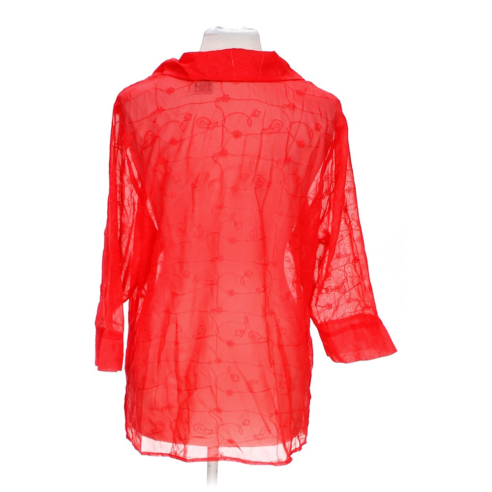 Red white stag sheer button up blouse in size 16 at up to for Polyester button up shirt