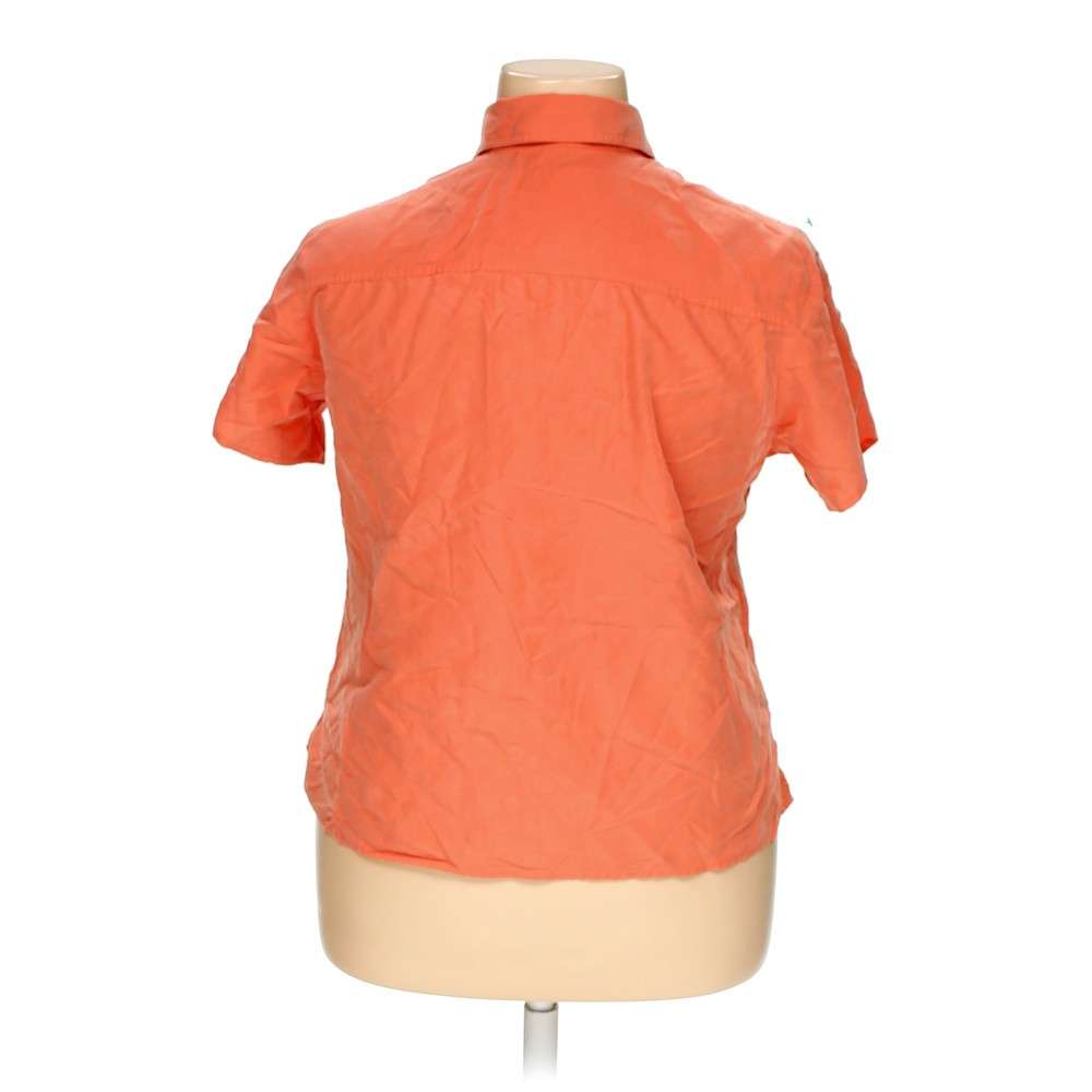 Orange apparenza short sleeve button up shirt in size 1x for Polyester button up shirt