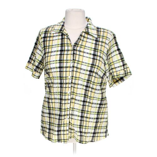 Allison daley short sleeve button up shirt in size 20 at for Polyester button up shirt