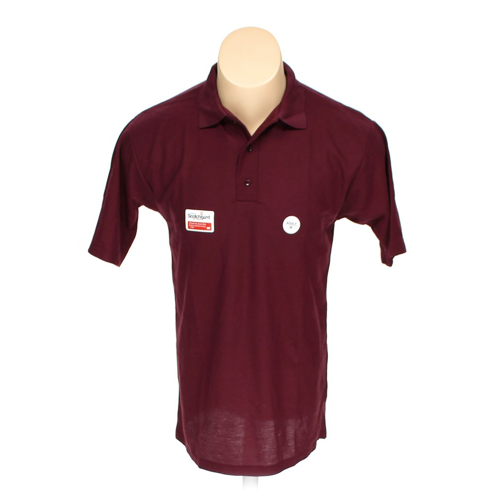 Maroon A School Apparel Short Sleeve Polo Shirt In Size M