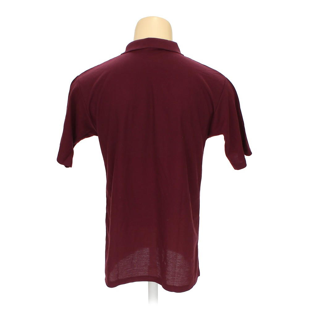 Maroon School Apparel Short Sleeve Polo Shirt In Size M At