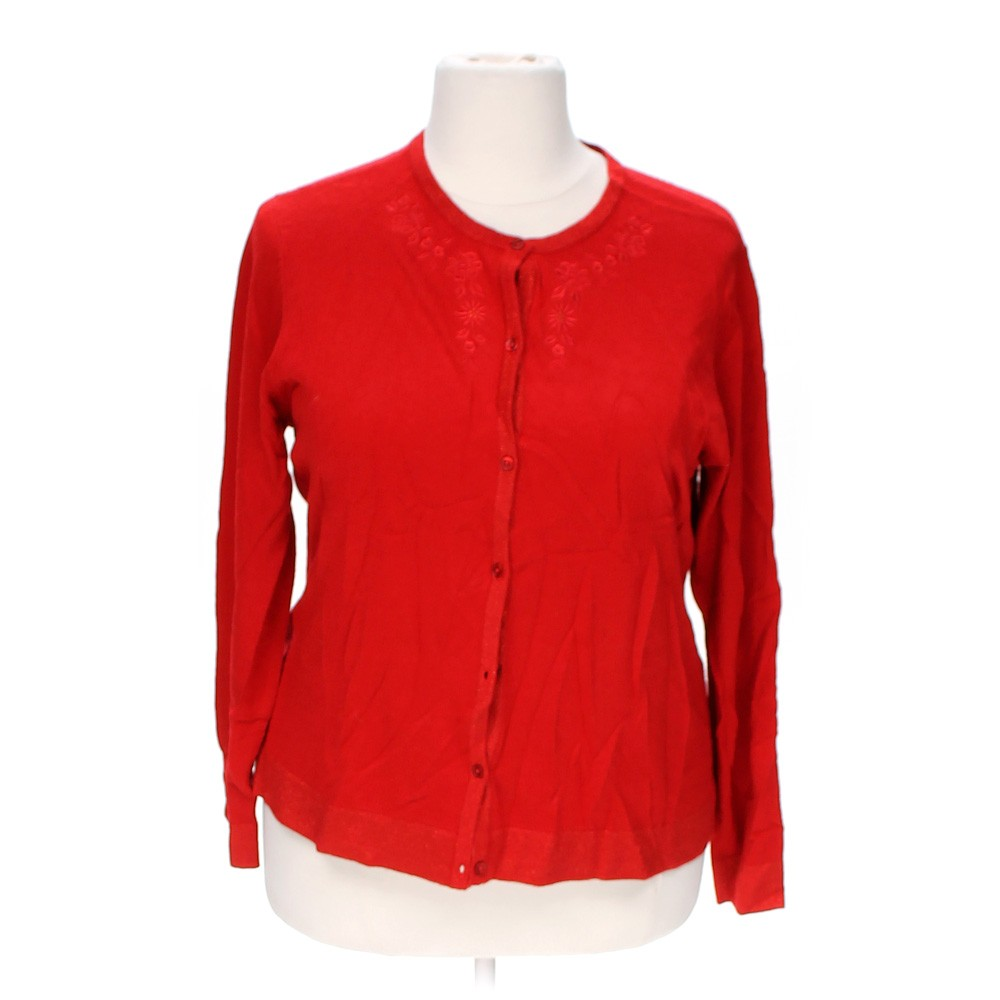 Red Sparkly Cardigan - Full Zip Sweater