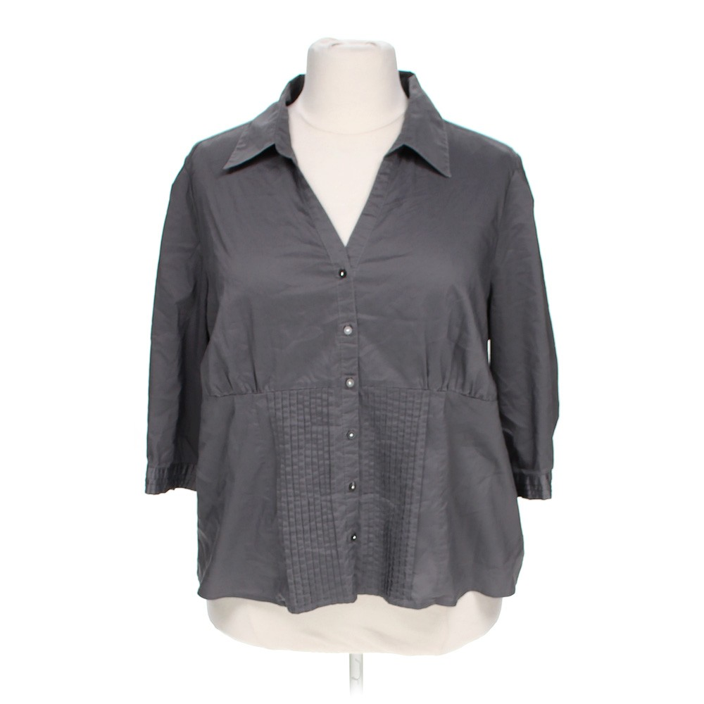 Grey cato stylish button up shirt in size 22 at up to 95 for Polyester button up shirt