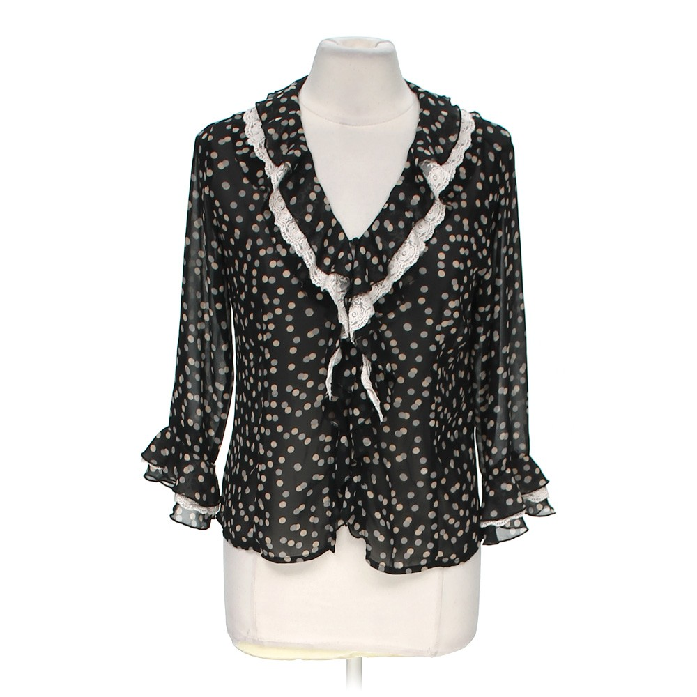 Black quintessential trendy polka dot button up blouse in for Polyester button up shirt